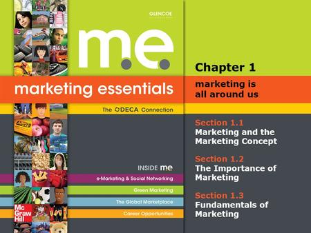 Section 1.1 Marketing and the Marketing Concept Chapter 1 marketing is all around us Section 1.2 The Importance of Marketing Section 1.3 Fundamentals of.