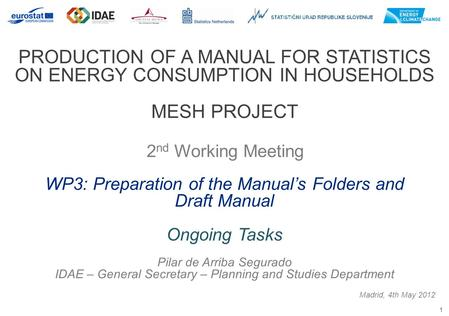 1 PRODUCTION OF A MANUAL FOR STATISTICS ON ENERGY CONSUMPTION IN HOUSEHOLDS MESH PROJECT 2 nd Working Meeting Madrid, 4th May 2012 WP3: Preparation of.