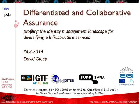David Groep Nikhef Amsterdam PDP & Grid Differentiated and Collaborative Assurance profiling the identity management landscape for diversifying e-Infrastructure.