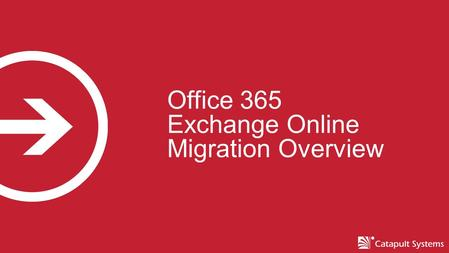 Office 365 Exchange Online Migration Overview. Catapult Overview  An independent wholly owned subsidiary of CSI since 2013  Privately founded in 1993,