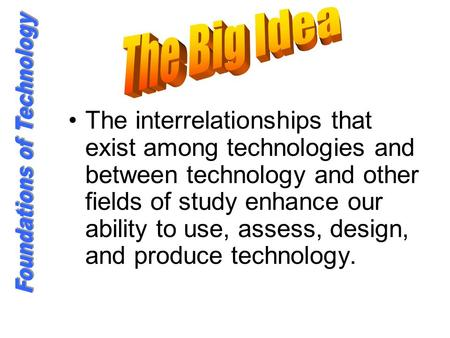The interrelationships that exist among technologies and between technology and other fields of study enhance our ability to use, assess, design, and produce.