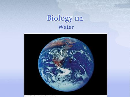 Water.  Water is the biological medium on Earth  All living organisms require water more than any other substance  Most cells are surrounded by water,