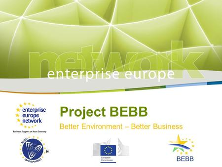 Title Sub-title PLACE PARTNER'S LOGO HERE European Commission Enterprise and Industry Project BEBB Better Environment – Better Business LOGO HERE.