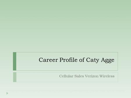 Career Profile of Caty Agge Cellular Sales Verizon Wireless.
