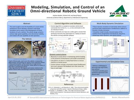 Modeling, Simulation, and Control of an Omni-directional Robotic Ground Vehicle Andrew Niedert, Richard Hill, and Nassif Rayess University of Detroit Mercy,