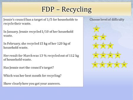 Choose level of difficulty Jennie's council has a target of 1/5 for households to recycle their waste. In January, Jennie recycled 1/10 of her household.
