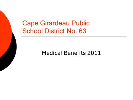Cape Girardeau Public School District No. 63 Medical Benefits 2011.
