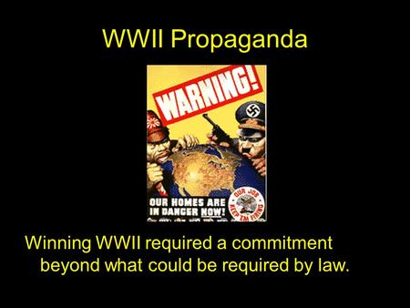 WWII Propaganda Winning WWII required a commitment beyond what could be required by law.