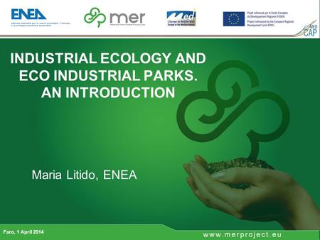 INDUSTRIAL ECOLOGY AND ECO INDUSTRIAL PARKS. AN INTRODUCTION Faro, 1 April 2014 Maria Litido, ENEA.