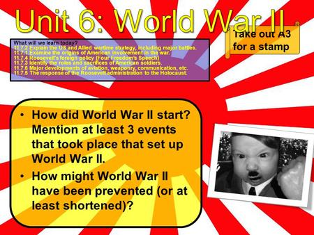 How did World War II start? Mention at least 3 events that took place that set up World War II. How might World War II have been prevented (or at least.