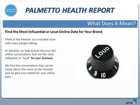 PALMETTO HEALTH REPORT What Does It Mean? Think of the Internet as a crowded room with many people talking. At Spiral16, we help brands discover the online.