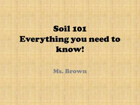 Soil 101 Everything you need to know! Ms. Brown. Part 2: Understanding Soil Formation.