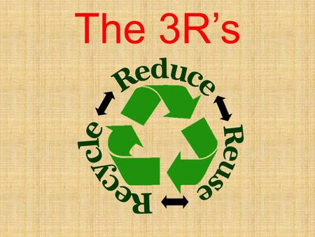 The 3R's. Rubbish domestic waste – all the rubbish which we produce – cardboard, plastic bags, leftover food, tin cans, etc. biodegradable – things that.