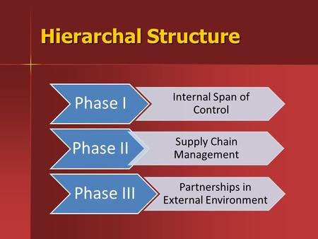 Hierarchal Structure Phase I Internal Span of Control Phase II Supply Chain Management Phase III Partnerships in External Environment.