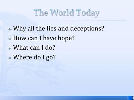  Why all the lies and deceptions?  How can I have hope?  What can I do?  Where do I go?