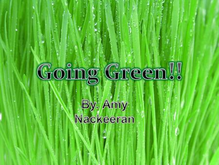 Here are 10 ways to go green from what I think is the most important to the least…….. Take care of your local environment. Reduce, Reuse, and Recycle.