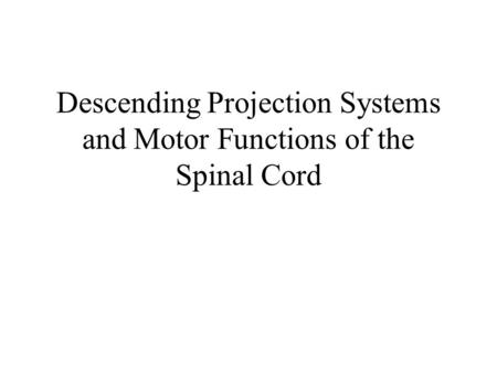 Descending Projection Systems and Motor Functions of the Spinal Cord.