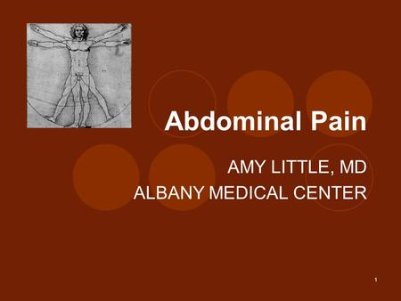 1 Abdominal Pain AMY LITTLE, MD ALBANY MEDICAL CENTER.