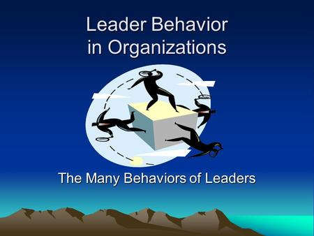 Leader Behavior in Organizations The Many Behaviors of Leaders.