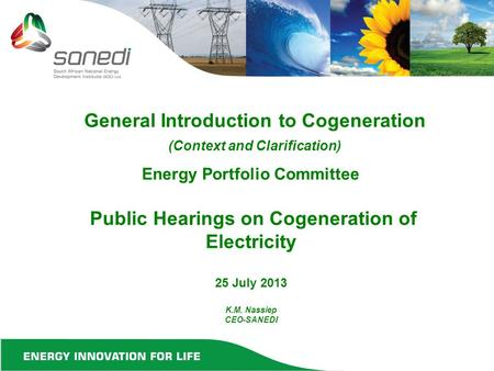 Energy Portfolio Committee Public Hearings on Cogeneration of Electricity 25 July 2013 K.M. Nassiep CEO-SANEDI General Introduction to Cogeneration (Context.