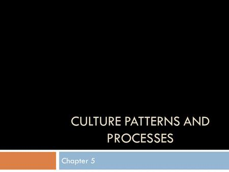 Culture Patterns and Processes