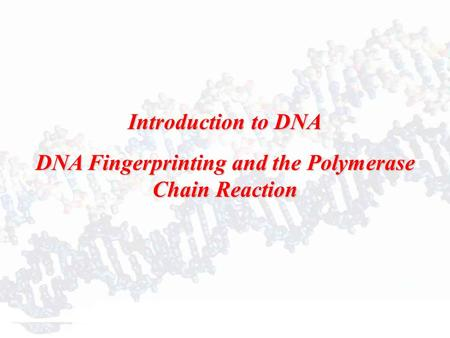 Introduction to DNA DNA Fingerprinting and the Polymerase Chain Reaction.