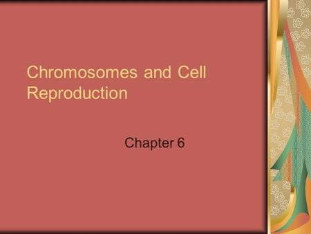 Chromosomes and Cell Reproduction Chapter 6. Chromosomes DNA must be present in any new cell that is formed so it must be copied and distributed so each.