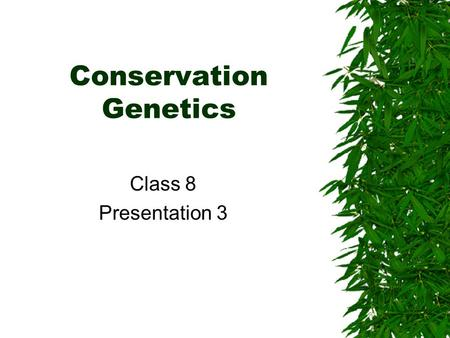 Conservation Genetics Class 8 Presentation 3. Forces of evolution  Natural selection  Genetic drift  Non-random mating (inbreeding)  Sexual selection.