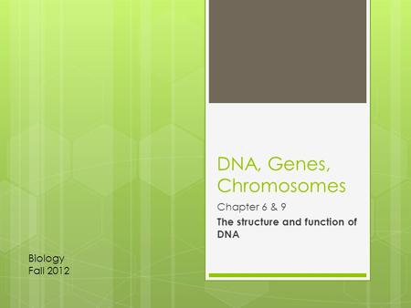 DNA, Genes, Chromosomes Chapter 6 & 9 The structure and function of DNA Biology Fall 2012.