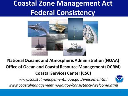 1 Coastal Zone Management Act Federal Consistency National Oceanic and Atmospheric Administration (NOAA) Office of Ocean and Coastal Resource Management.