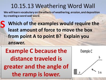 10.15.13 Weathering Word Wall Which of the examples would require the least amount of force to move the box from point A to point B? Explain you answer.