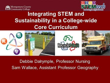 Integrating STEM and Sustainability in a College-wide Core Curriculum Debbie Dalrymple, Professor Nursing Sam Wallace, Assistant Professor Geography.