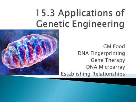 GM Food DNA Fingerprinting Gene Therapy DNA Microarray Establishing Relationships.
