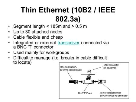 Thin Ethernet (10B2 / IEEE 802.3a) Segment length 0.5 m Up to 30 attached nodes Cable flexible and cheap Integrated or external transceiver connected via.