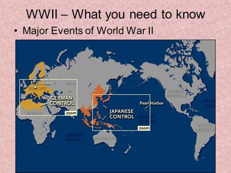 WWII – What you need to know Major Events of World War II.