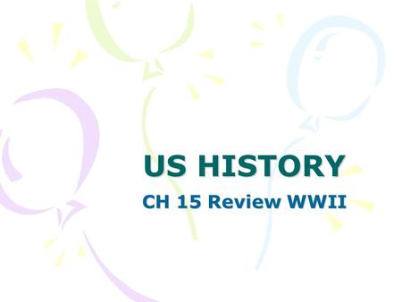 US HISTORY CH 15 Review WWII. 1. Racism discrimination based on prejudice or ethnicity 2. Blitzkrieg- lightning war- use of tanks and air power.