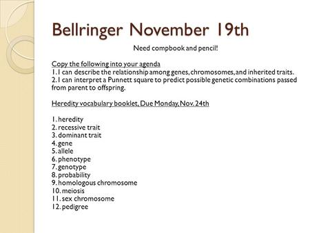 Bellringer November 19th Need compbook and pencil! Copy the following into your agenda 1. I can describe the relationship among genes, chromosomes, and.