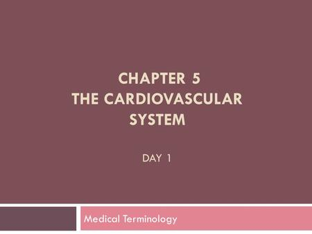 Chapter 5 The Cardiovascular System Day 1