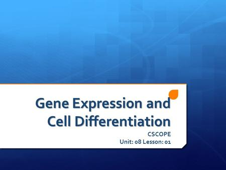Gene Expression and Cell Differentiation CSCOPE Unit: 08 Lesson: 01.