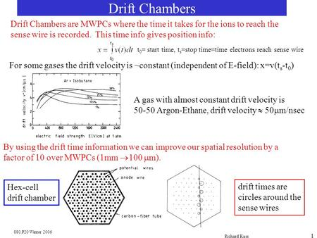 Drift Chambers Drift Chambers are MWPCs where the time it takes for the ions to reach the sense wire is recorded. This time info gives position info: