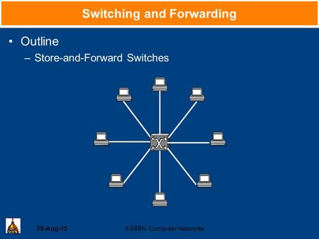 29-Aug-154/598N: Computer Networks Switching and Forwarding Outline –Store-and-Forward Switches.