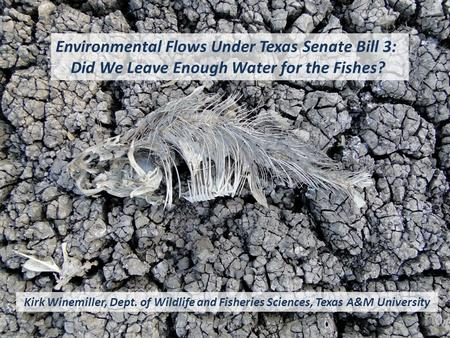 Environmental Flows Under Texas Senate Bill 3: Did We Leave Enough Water for the Fishes? Kirk Winemiller, Dept. of Wildlife and Fisheries Sciences, Texas.