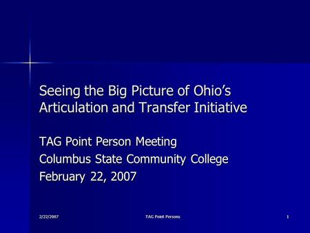 2/22/2007 TAG Point Persons 1 Seeing the Big Picture of Ohio's Articulation and Transfer Initiative TAG Point Person Meeting Columbus State Community College.