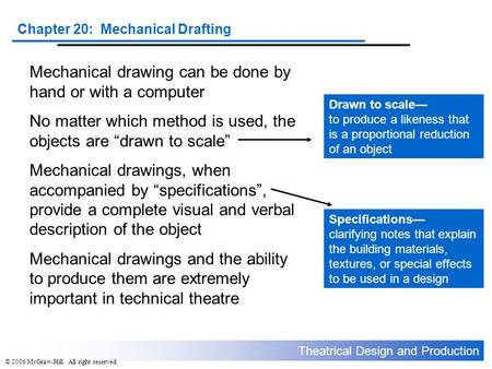 Mechanical drawing can be done by hand or with a computer