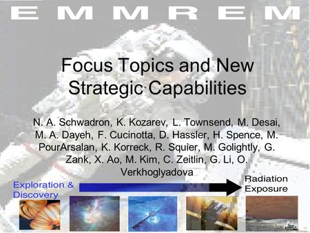 Focus Topics and New Strategic Capabilities N. A. Schwadron, K. Kozarev, L. Townsend, M. Desai, M. A. Dayeh, F. Cucinotta, D. Hassler, H. Spence, M. PourArsalan,