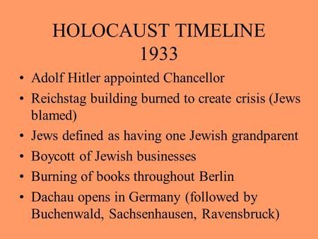 HOLOCAUST TIMELINE 1933 Adolf Hitler appointed Chancellor