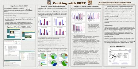 Cooking with CHEF Mark Pearson and Manuel Rendon Ingredients : What is CHEF?  CompreHensive collaborativE Framework  Open source Course Management System.