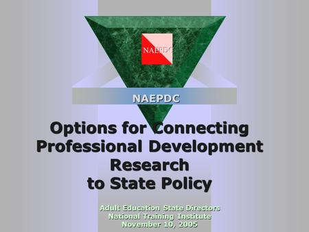 Options for Connecting Professional Development Research to State Policy Adult Education State Directors National Training Institute November 10, 2005.
