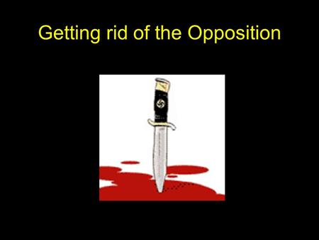 Getting rid of the Opposition. Lesson Objectives To see how Hitler overcame the opposition facing him in order to consolidate his position of power within.