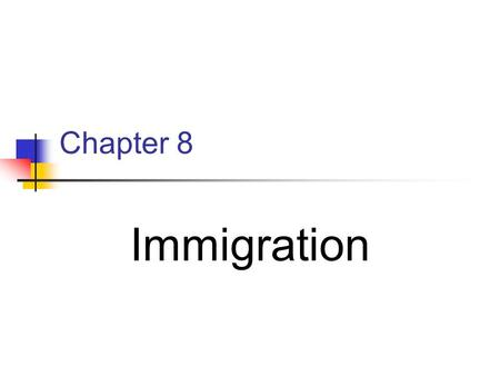 Chapter 8 Immigration. Moving from one country to another. In the late 1800s immigrants around the world they were fleeing crop failures, shortages of.